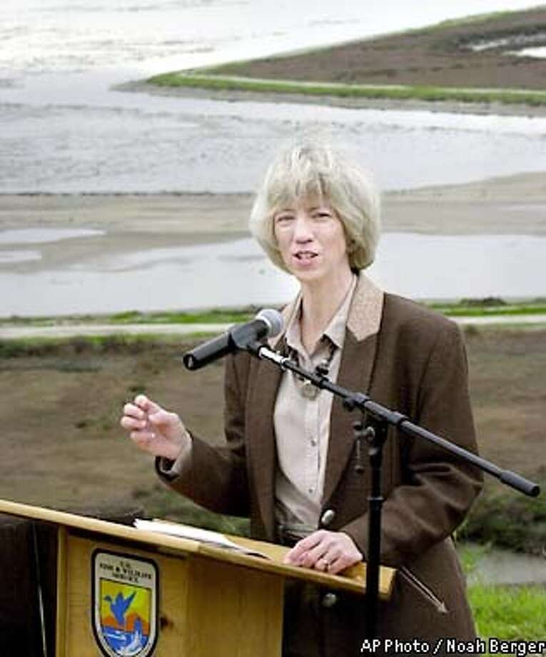 Speaking at the Don Edwards San Francisco Bay National Wildlife Refuge in Newark, Calif., Secretary of the Interior Gale Norton announcesa plan to increase funding for the nation's refuge system on Monday, Jan. 21, 2002. (AP Photo/Noah Berger) Photo: NOAH BERGER