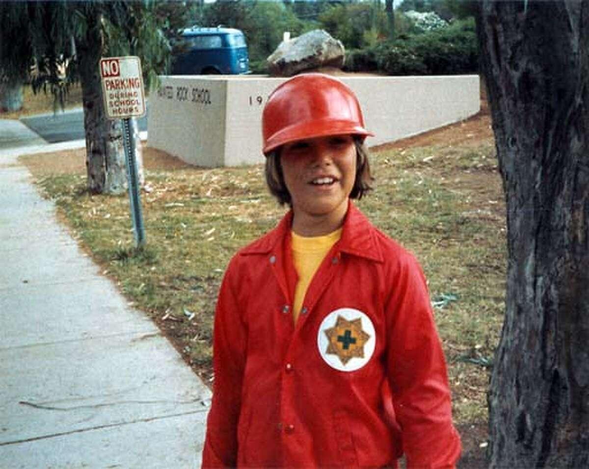 Scott acting as a school crossing guard in fifth grade.