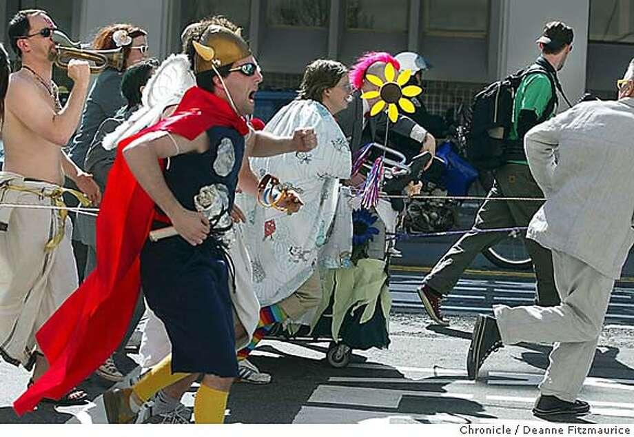 The 10th annual Urban Iditarod was run through the San Francisco streets. Deanne Fitzmaurice / The Chronicle Photo: Deanne Fitzmaurice