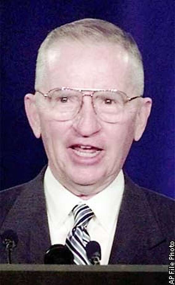 founder Ross Perot addresses the National Convention in Dearborn, Mich., Saturday, July 24, 1999. (AP Photo/Paul Sancya) Photo: PAUL SANCYA