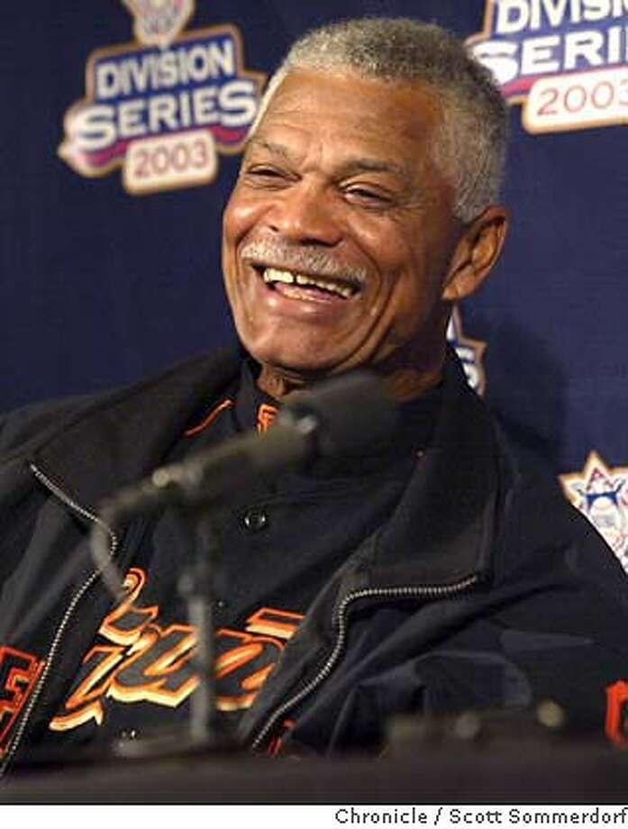"San Francisco Giants manager Felipe Alou answers questions during an interview session, Monday Sep. 29th, 2003. He, and Marlins manager Jack McKeon were asked a lot of questions about their age, and Alou is answering that: ""the Giants never tested my brain or anything before they hired me.""  SF CHRONICLE PHOTO BY SCOTT SOMMERDORF Photo: SCOTT SOMMERDORF"