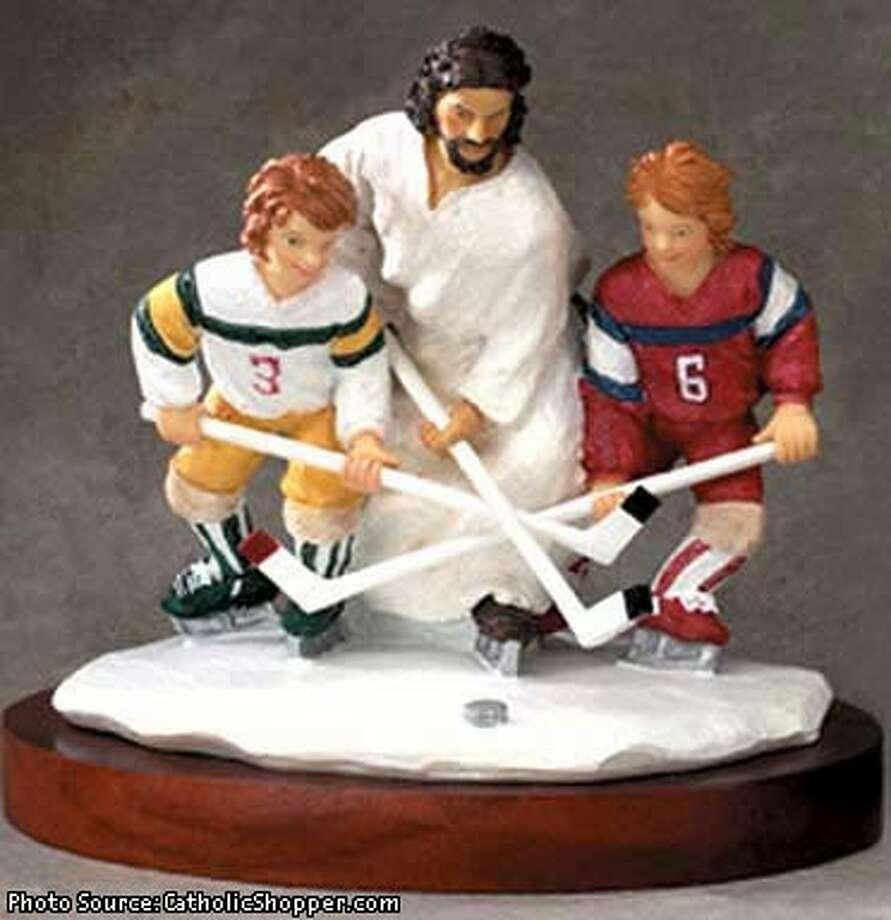 Jesus Inspirational Sports Statue: Hockey. Photo via  CatholicShopper.com