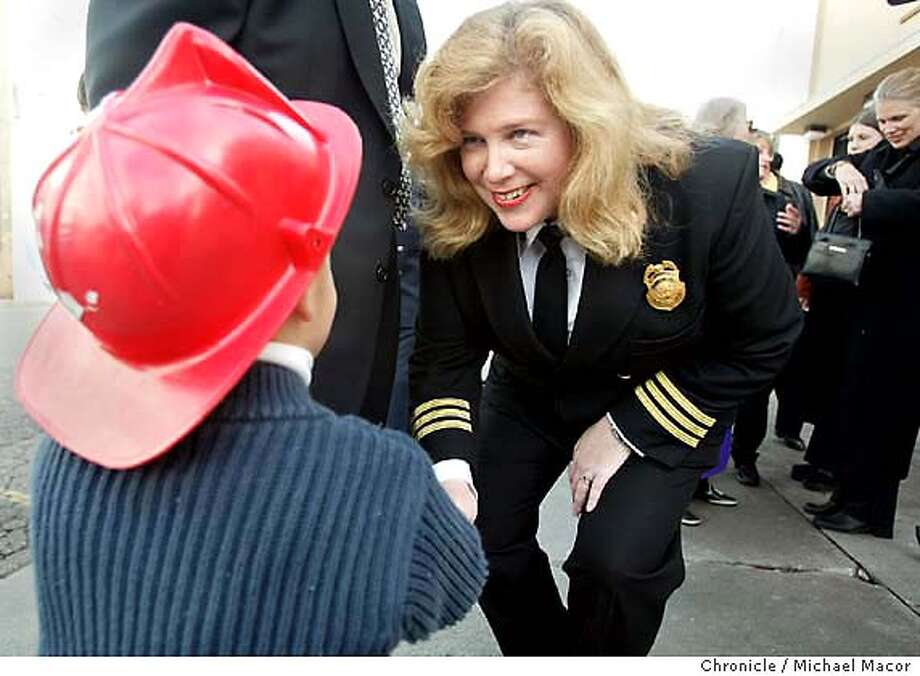 firechief060_mac.jpg Joanne Hayes-White introduces herself to 3 year old Reese Romero. Reese is the son of Lt. Sam Romero of the San francisco Fire Department. Mayor Gavin Newsome introduced Joanne Hayes-White today as his choice as Chief of the San Francisco Fire Department. Hayes-White would be the first female Chief in the department's history.  Event on 1/10/04 in San Francisco. MICHAEL MACOR / The Chronicle Photo: MICHAEL MACOR