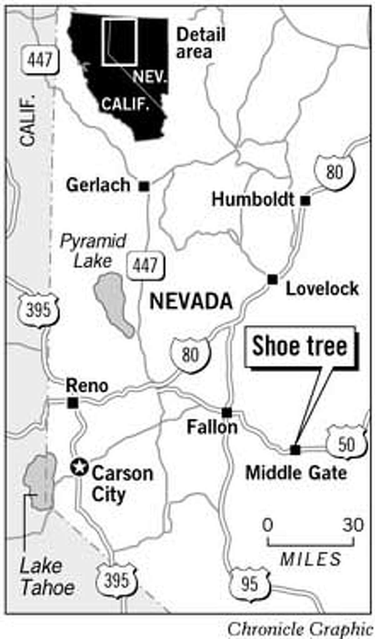 Central Nevada's Shoe Tree. Chronicle Graphic