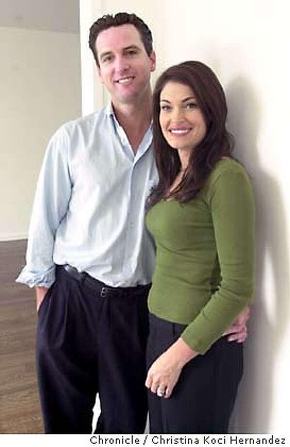 CHRISTINA KOCI HERNANDEZ/CHRONICLE  Gavin Newsom at home with wife, Kimberly Guilfoyle Newsom. Photo: CHRISTINA KOCI HERNANDEZ