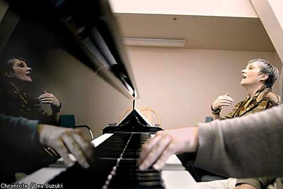 Sheri Greenawald coaches Mezzo-Soprano Katherine Rohrer (not shown) as accompanies on piano. Singer and teacher Sheri Greenawald has taken over as head of the San Francisco Opera Center, the company's training wing. Greenawald in action, coaching the young singers of the Merola at the San Francisco Opera House, FUlton and Franklin, San Francisco. CHRONICLE PHOTO/LEA SUZUKI Photo: LEA SUZUKI