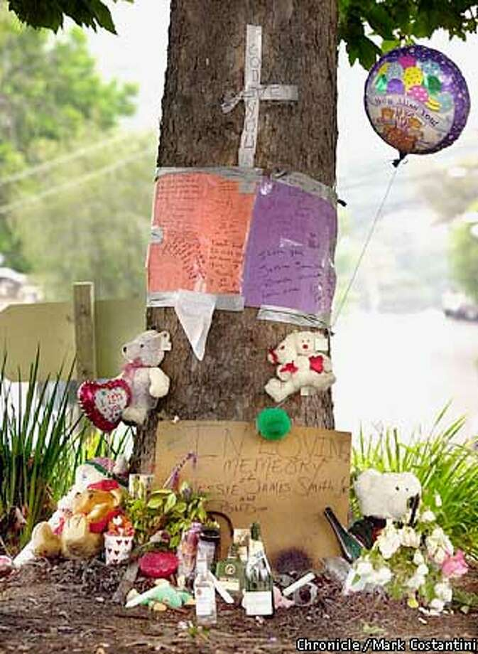 Liquor bottles, teddy bears, balloons, candles and a bag of Cheetos (which the victim liked to eat) have been assembled in a street memorial marking where Jesse James Smith, Jr. was shot and killed Tuesday during an argument with another man. Such memorials have become as important a symbol of death and life in some urban neighborhoods as flowers and hearts may be elsewhere . PHOTO: MARK COSTANTINI/THE CHRONICLE Photo: MARK COSTANTINI