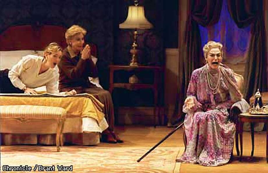 TALLWOMEN/29JUL97/DD/BW--(l-r) Christina Rouner, Michael Learned and Marian Seldes star in Edward Albee's Three Tall Women at the Herbst Theatre. By Brant Ward/Chronicle