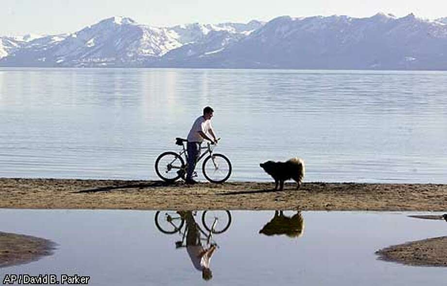 ** FILE ** Nick Cosindas waits for his dog, Kaya, to shake himself dry after playing fetch March 27, 2002, near his home near Lake Tahoe, Nev. A San Francisco court approved a settlement that will see three oil companies pay $28 million for polluting Lake Tahoe groundwater with the gasoline additive MTBE. (AP Photo/Reno Gazette-Journal, David B. Parker, File) Photo: DAVID B. PARKER