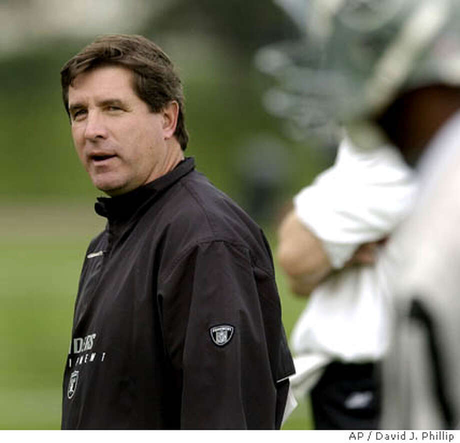 ** FILE ** Oakland Raiders coach Bill Callahan, left, looks to wide receiver Jerry Rice, right, during a practice session before the Super Bowl Thursday, Jan. 23, 2003 in San Diego. The Raiders finished a 4-12 season that was the team's worst since 1997 only a year after Callahan led them to the Super Bowl in his rookie season as coach (AP Photo/David J. Phillip) Photo: DAVID J. PHILLIP