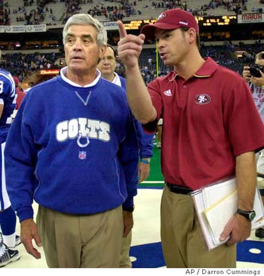 Indianapolis Colts head coach Jim Mora, left, is greeted by his son San Francisco 49ers defensive coordinator Jim Mora following the game Sunday, Nov. 25, 2001, in Indianapolis. The 49ers won 40-21. (AP Photo/Darron Cummings), Also ran 1/22/03, 09/09/03 Photo caption  1006560000APIndianapolis Colts head coach Jim Mora, left, is greeted by his son San Francisco 49ers defensive coordinator Jim Mora following the game Sunday, Nov. 25, 2001, in Indianapolis. The 49ers won 40-21. (AP Photo-Darron Cummings), Also ran 1-22-03, 09-09-03__CAT DIGITAL IMAGE 49ers defensive coordinator Jim Mora hopes to become an NFL head coach, just like his dad, Jim, who guided the Saints and Colts. 49ers defensive coordinator Jim Mora hopes to become an NFL head coach, just like his dad, Jim, who guided the Saints and Colts. Photo caption onthenfl07_PH1006560000APIndianapolis Colts head coach Jim Mora, left, is greeted by his son San Francisco 49ers defensive coordinator Jim Mora following the game Sunday, Nov. 25, 2001, in Indianapolis. The 49ers won 40-21. (AP Photo-Darron Cummings), Also ran 1-22-03, 09-09-03__CAT DIGITAL IMAGE Photo: DARRON CUMMINGS