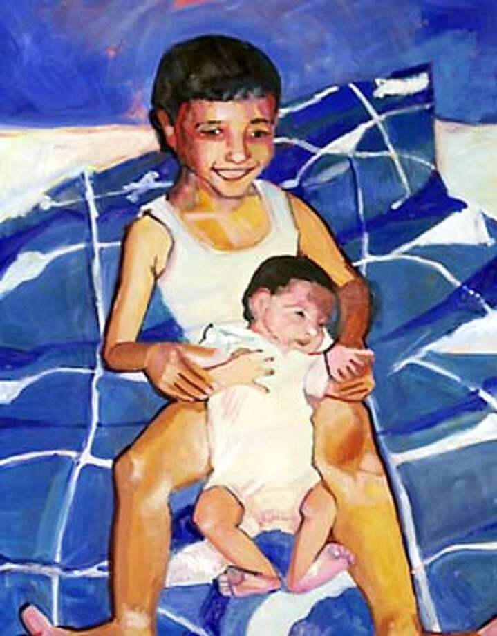 Artist Heidi Hardin paintings of Bay Area families opens at SOMarts Gallery on Jan 8 this show features Her paintings of two Jewish and two Mulsim families ,portraits she did from family photo albums. Event on 12/18/03 in San Francisco. KURT ROGERS / The Chronicle Photo: KURT ROGERS