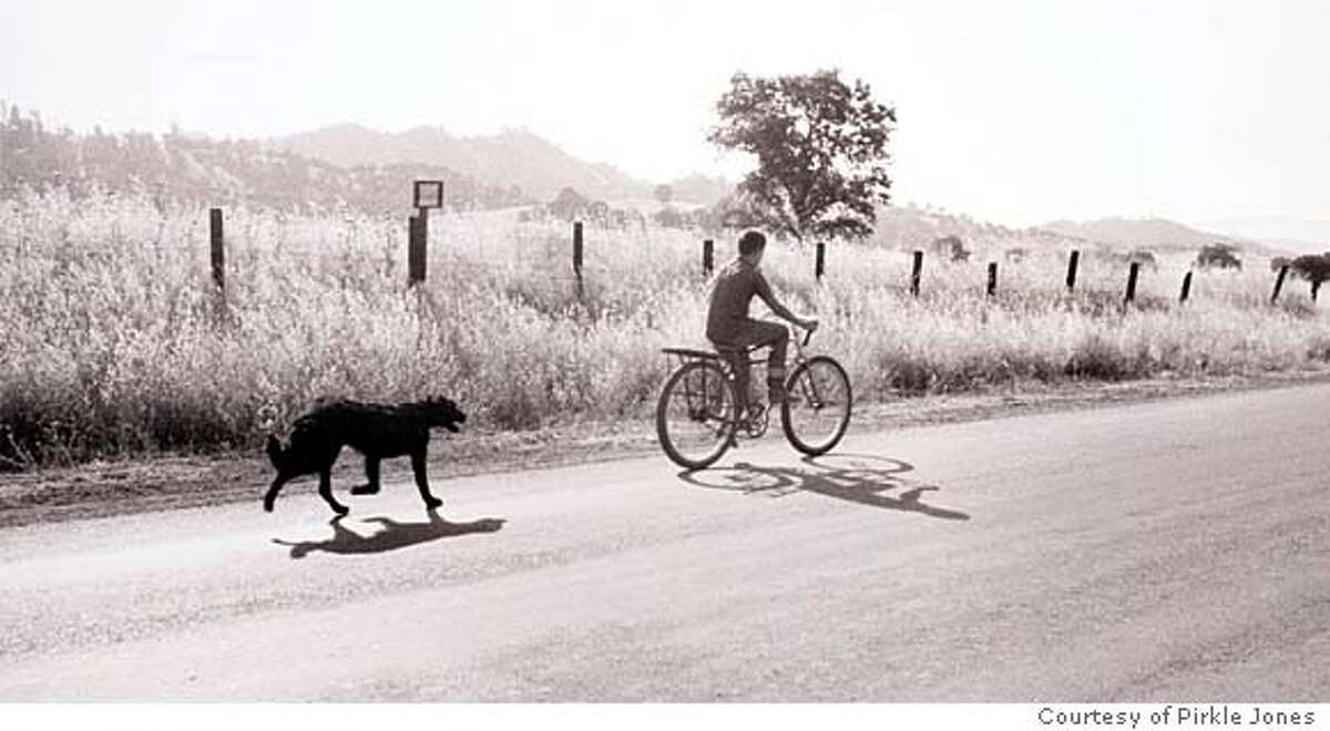 for NBPIRKLE02; Larry Gardner on Bicycle with Dog, from the Death of a Valley series. Courtesy Pirkle Jones, / HO
