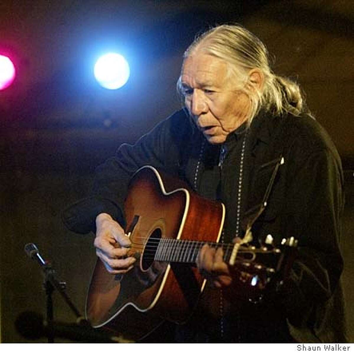 Activist, folk singer, speaker, and actor Floyd Redcrow Westerman performs at the Wiyot Sacred Site Fund Benefit Concert on Feb. 7, 2004, in Eureka, Calif.. He appeared in