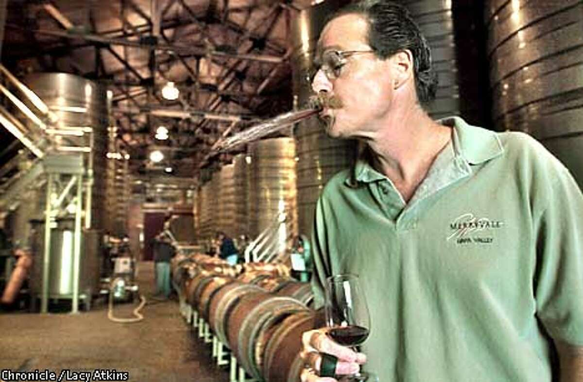Winemaker Steve Test of Merryville wineary spits out the remaining wine after tasting in the celler at the Merryville Wineary, Monday July 22, 02, in St. Helena. San Francisco Chronicle Photo by Lacy Atkins