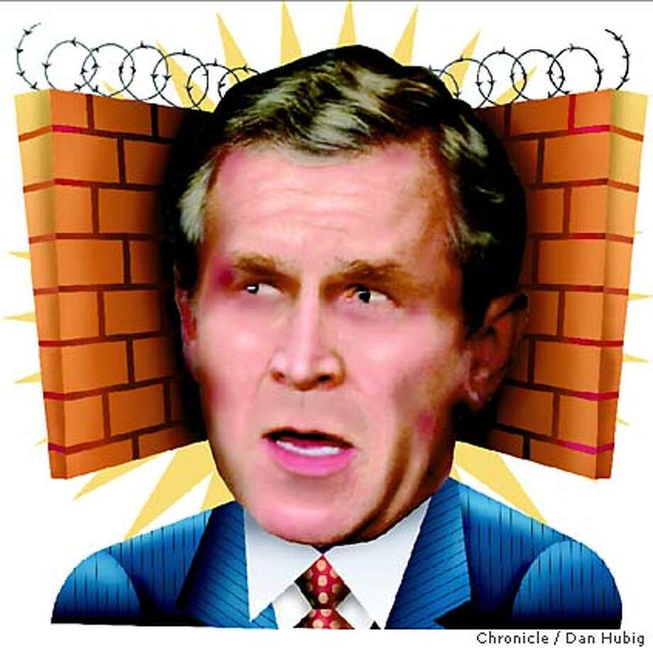 Quarantining dissent: How the Secret Service protects Bush from free speech. Chronicle illustration by Dan Hubig