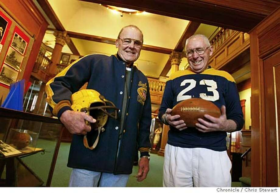 """Event on 2/10/04 in Petaluma.  Former semi-pro footballers Fran Burke and Herm Jensen reflect on their former days of glory at the Petaluma Museum, 20 Fourth Street, Petaluma, CA. The museum is doing a show, """"Reflections of our Sporting Past,"""" looking back on their old semi-pro baseball team called the Leghorns. Chris Stewart / The Chronicle � Photo: Chris Stewart"""