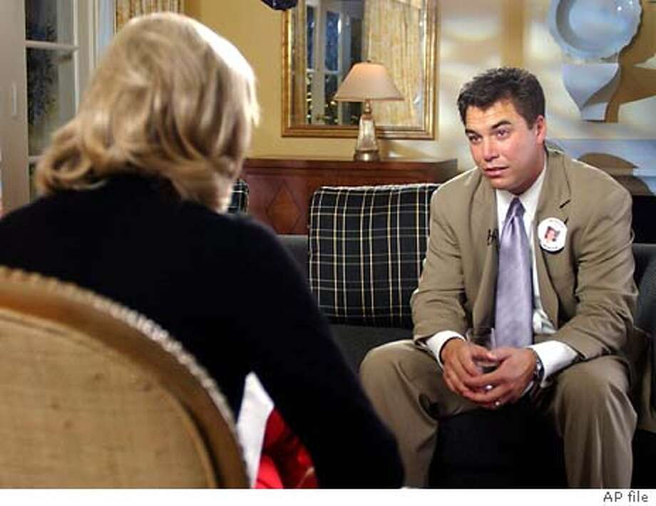 """** FILE ** Diane Sawyer, during ABC New's """"Good Morning America"""" broadcast Tuesday Jan. 28, 2003, interviews Scott Peterson of Modesto, Calif., about the current investigation into the mysterious disappearance of his pregnant wife Laci Peterson. He's become tabloid fodder, a hounded husband exposed before the world as an adulterer and surrounded by cameras while suspected by many of murder, though not officially by the police. Since his pregnant wife Laci disappeared in Modesto on Christmas Eve, being Scott Peterson means being followed, second guessed and scorned. (AP Photo/ABC NEWS, Ida Mae Astute) Photo: IDA MAE ASTUTE"""
