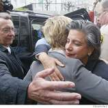 Event at San Francisco on 2/26/04. San Francisco Treasure Susan Leal (facing camera)hugs Kelli Carpenter asshe get ready to get into the car after her marriage to Rosie O'Donnell (not San Francisco city Leal married them behind closed doors. Same-sex weddings continue at city hall. Same Sex marriages continue to be performed at City Hall.  Liz Mangelsdorf/ The Chronicle