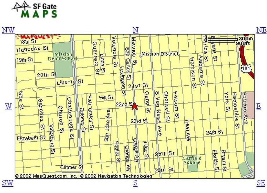 Shooting in the Mission District. Graphic source: MapQuest via  SFGate.com