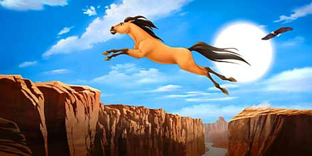 CourageSpirit makes a bold leap for freedom in DreamWorks Pictures� traditionally animated feature SPIRIT: STALLION OF THE CIMARRON. Photo: Courtesy DreamWorks Pictures (HANDOUT PHOTO)