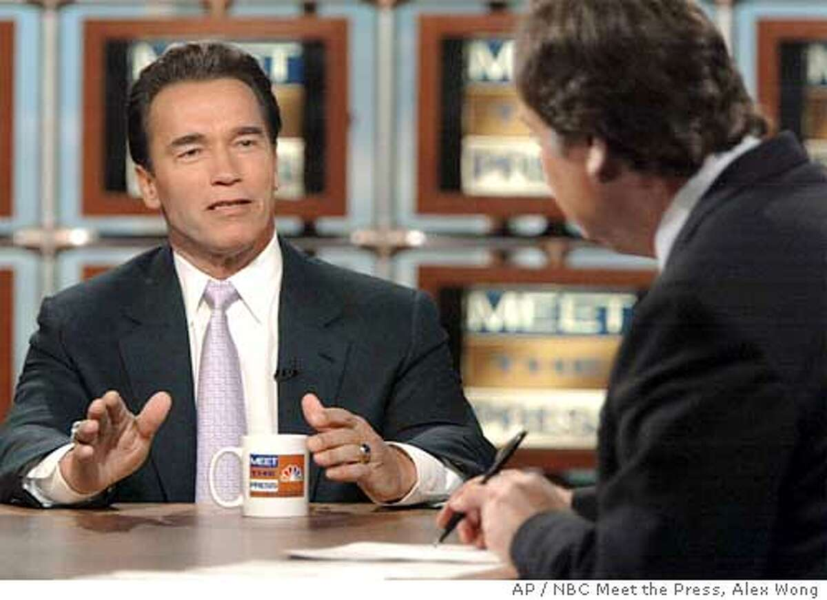 California Gov. Arnold is interviewed by moderator Tim Russert, right, on NBC's