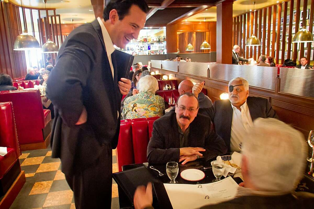 Owner John Duggan greets diners during lunch at Original Joe's Restaurant in San Francisco, Calif., on Thursday, January 26th, 2012.