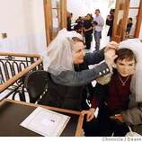 (l to r) Jillian Armenante, actress on Judging Amy marries Alice Dodd. They drove here from Los Angeles. Same-sex couples were allowed to continue getting married today at City Hall as a decision was made in court today to allow marriages to coninue through Friday.  Deanne Fitzmaurice / The Chronicle