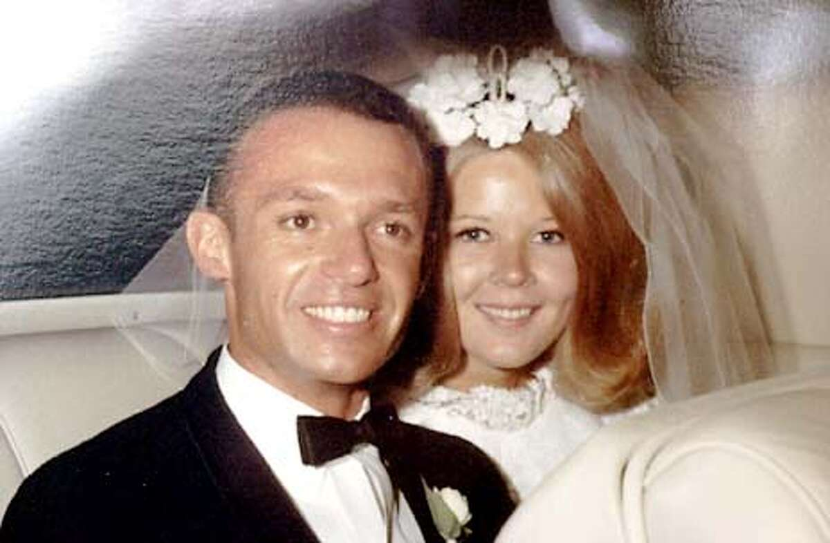 Dorothy Garcia's 1969 wedding photo of her with her late husband, in her Portola Valley home. Garcia's husband was one of the victims of United Flight 93. Chronicle Photo by Darryl Bush