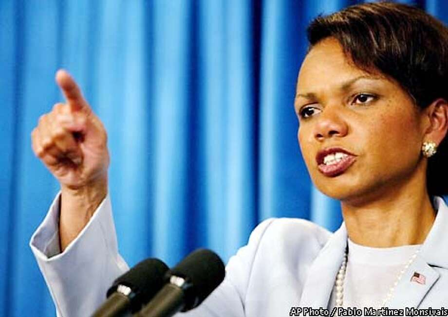 National Security Adviser Condoleezza Rice gestures during a presss briefing at the White House Thursday May 16, 2002 in Washington. Rice said that President Bush had received general, nonspecific information during a vacation briefing at his ranch Aug. 6 that bin Laden's group was considering hijackings, and he never considered making the information public. (AP Photo/Pablo Martinez Monsivais) Photo: PABLO MARTINEZ MONSIVAIS