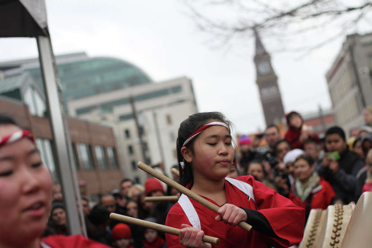The Kaze Daiko Taiko group performs a song during the Chinese Lunar New Year Celebration in the International District on Saturday, Jan. 28, 2012.