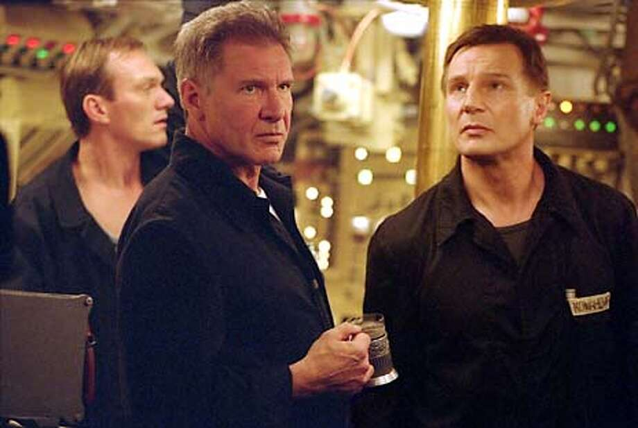 "Photo by: George Kraychyk  (Foreground, left to right) Harrison Ford as Alexei Vostrikov, Liam Neeson as Mikhail Polenin and (back, left) Ingvar Sigurdsson as Gorelov in ""K-19: The Widowmaker.""  (HANDOUT PHOTO) Photo: HANDOUT"