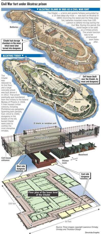 Civil War Fort Under Alcatraz Prison. Chronicle Graphic