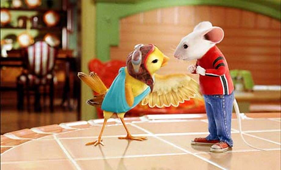 Photo Credit: Sony Pictures Imageworks  Stuart Little (voiced by Michael J. Fox) and Margalo (voiced by Melanie Griffith) become fast friends in Columbia Pictures family comedy Stuart Little 2. (HANDOUT PHOTO) Photo: HANDOUT