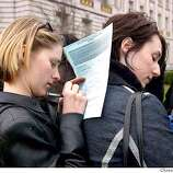 Deirdre Bourdet and Leslie Caccamese of Albany who attendad the ralley in Sacramento.They raced to San Francisco to get married they were the last in line for today . The San Francisco City Hall was almost surrounded by people wanting to get married on this Valentines day most of them were of the same sex. Event on 2/14/04 in San Francisco. Kurt Rogers/The Chronicle