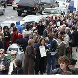 The San Francisco City Hall was almost surrounded by people wanting to get married on this Valentines day most of them were of the same sex. Event on 2/14/04 in San Francisco. Kurt Rogers/The Chronicle