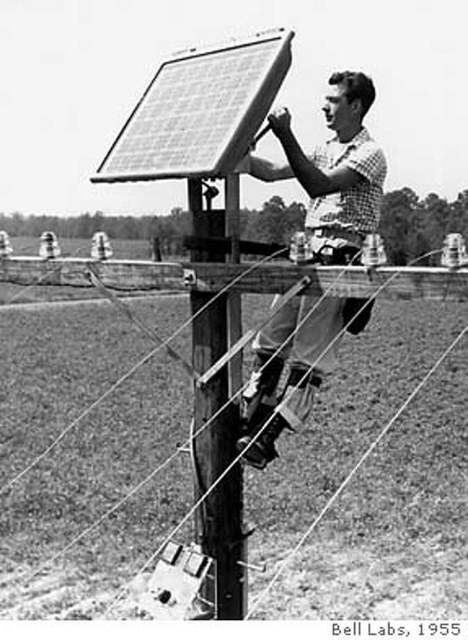 / for: Business The original Bell Solar Battery being used in an early test in 1955 in Americus, Ga., near Atlanta. Bell Labs applied this breakthrough technology to provide remote power for improving telephone service. Solar Cells continue to be used today as a green source of energy and for providing electricity to remote locations.