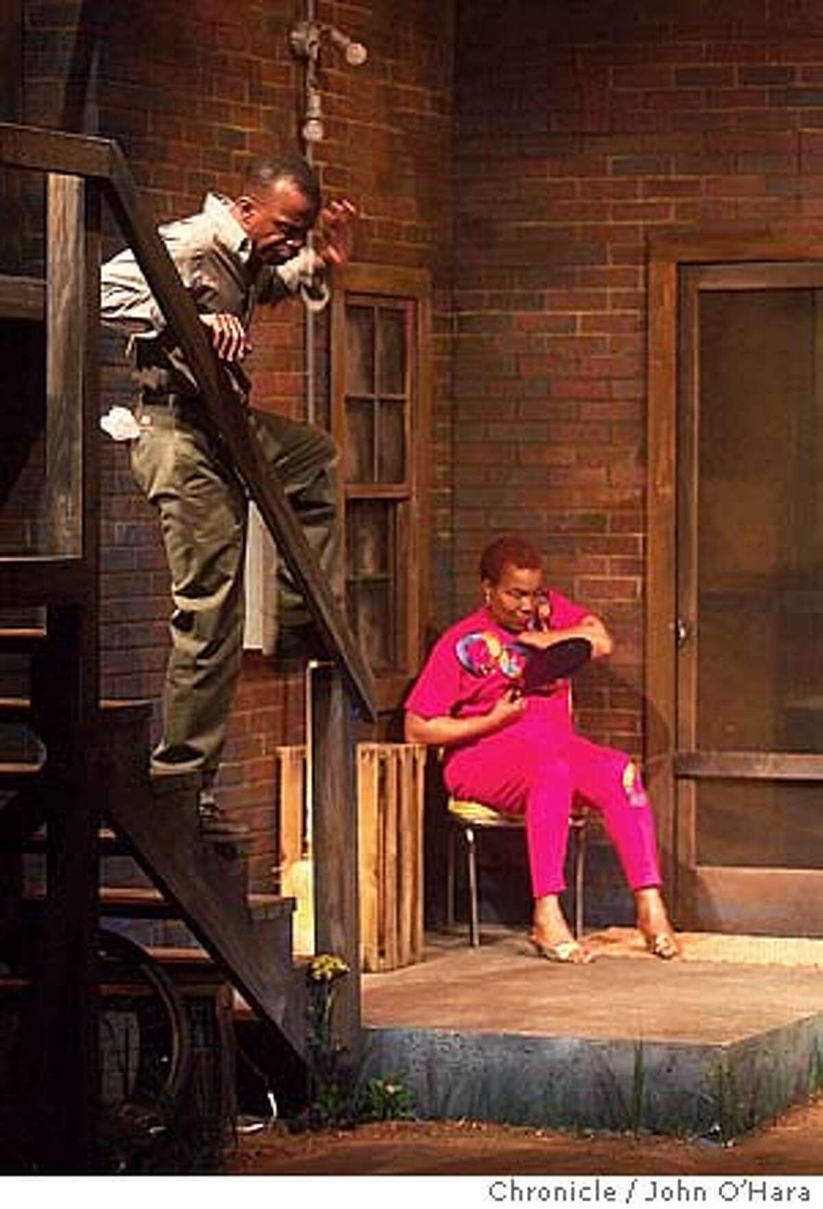 "Lorraiane Hansberry Theater, 620 Sutter st. San francisco,CA. Performance of ""King Hedley II"" . Actors: Peter Callender and Rhodessa Jones Photo/John O'Hara"