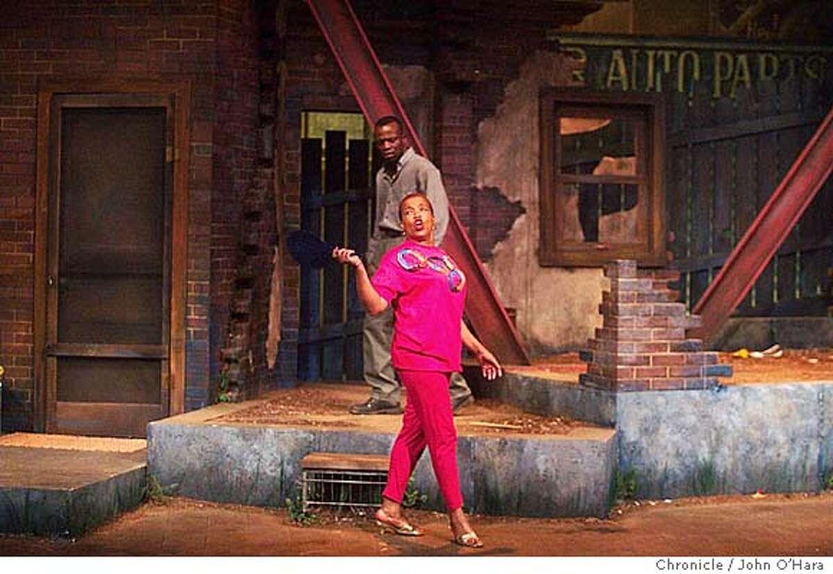 "Lorraiane Hansberry Theater, 620 Sutter st. San francisco,CA. Performance of ""King Hedley II"" . Actors: Peter Callender, Rhodessa Jones Photo/John O'Hara"