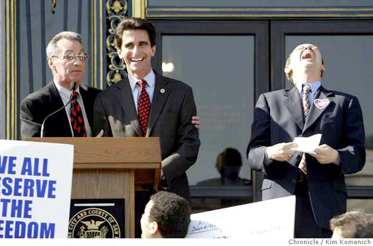 Supporters of the San Francisco same sex marriage legislation rally at City Hall. L to R, Supervisor Tom Ammiano makes a marriage joke with State Assemblyman Mark Leno, and Supervisor Bevan Dufty reacts. Photo by Kim Komenich in San Francisco.