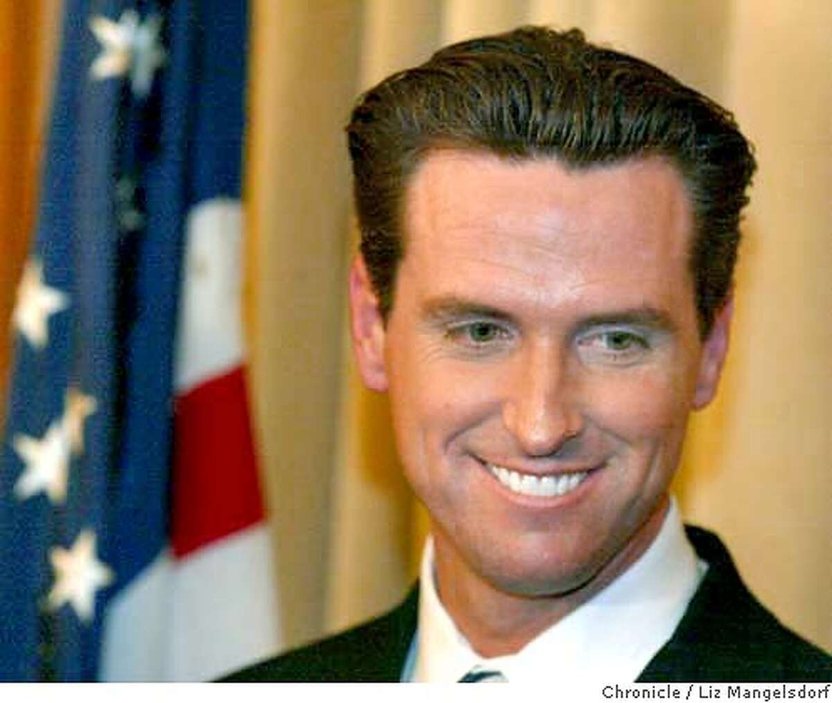 Event at San Francisco on 2/13/04. San Francisco Mayor Gavin Newsom speaks to the media in his office in City Hall on Friday afternoon. Same Sex marriages continue to be performed at City Hall. Liz Mangelsdorf/ The Chronicle