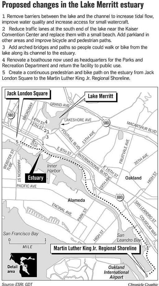 Proposed Changes in the Lake Merritt Estuary. Chronicle Graphic