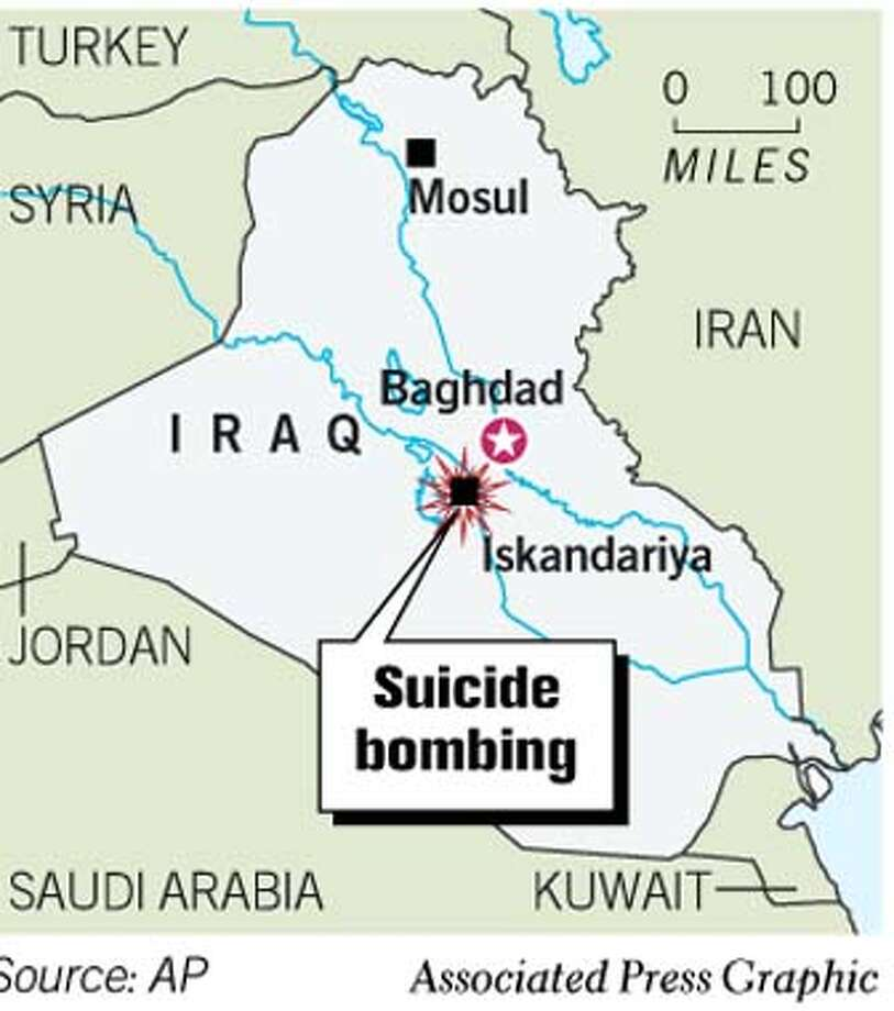 Iraq Suicide Bombing. Associated Press Graphic Photo: Joe Shoulak