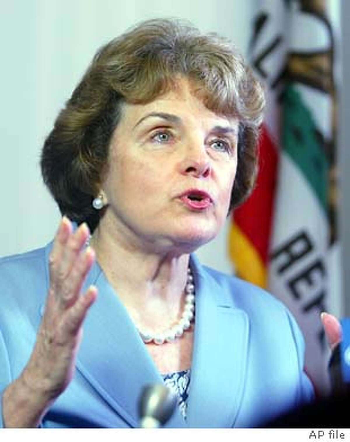 Sen. Dianne Feinstein, D-Calif., discusses the recall vote at her offices in San Francisco, Wednesday, Oct. 8, 2003. (AP Photo/George Nitikin) ALSO RAN 11/26/2003 Sen. Dianne Feinstein called the actions by the financial industry diabolical. Photo caption privacy22_PH1097107200APSen. Dianne Feinstein, D-Calif., discusses the recall vote at her offices in San Francisco, Wednesday, Oct. 8, 2003. (AP Photo-George Nitikin) Dianne Feinstein warned that the country appears arrogant. Dianne Feinstein warned that the country appears arrogant. Politics#MainNews#Chronicle#11/4/2003#ALL#5star#A14#0421429744 Sens. Dianne Feinstein (left) and Barbara Boxer fought for the states privacy law. Nation#MainNews#Chronicle#11/6/2003#ALL#3star##0421429744 Sen. Dianne Feinstein, seeking to renew her weapons ban, says tougher laws have no chance.