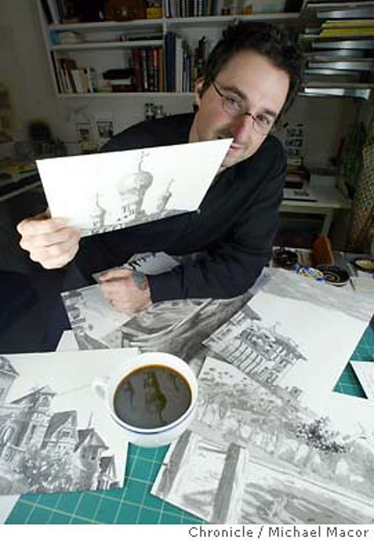 Madonna with a few of the drawings that will appear in his comics, including the Russian Orthodox Holy Virgin Cathedral, Spreckles Lake and Victorians along Broderick St. Quirky local cartoonist Paul Madonna will debut his comic strip,