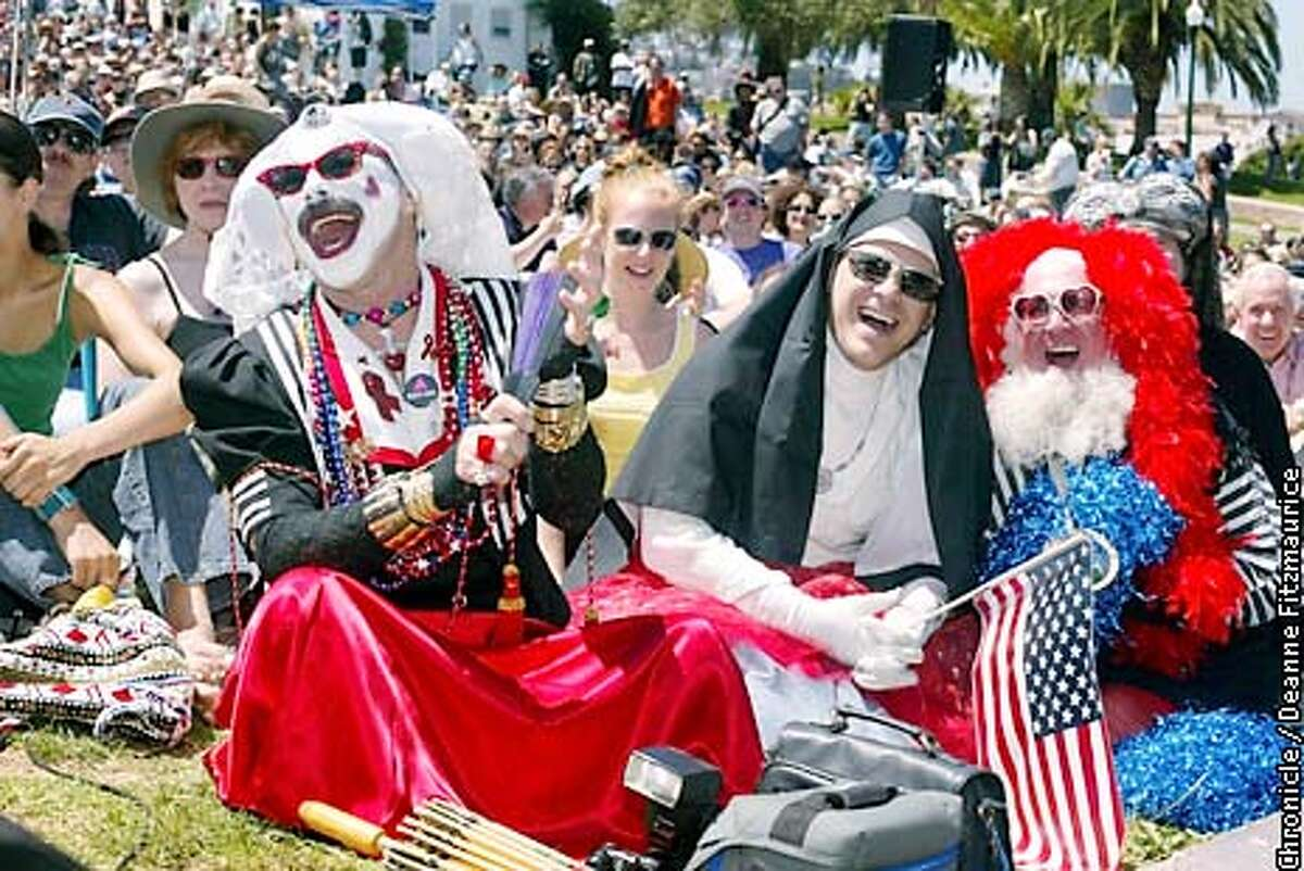 """The Sisters of Perpetual Indulgence were among the crowd enjoying the San Francisco Mime Troupe's summer show at Dolores Park, """"Mr. Smith Goes to Obskuristan."""" CHRONICLE PHOTO BY DEANNE FITZMAURICE"""