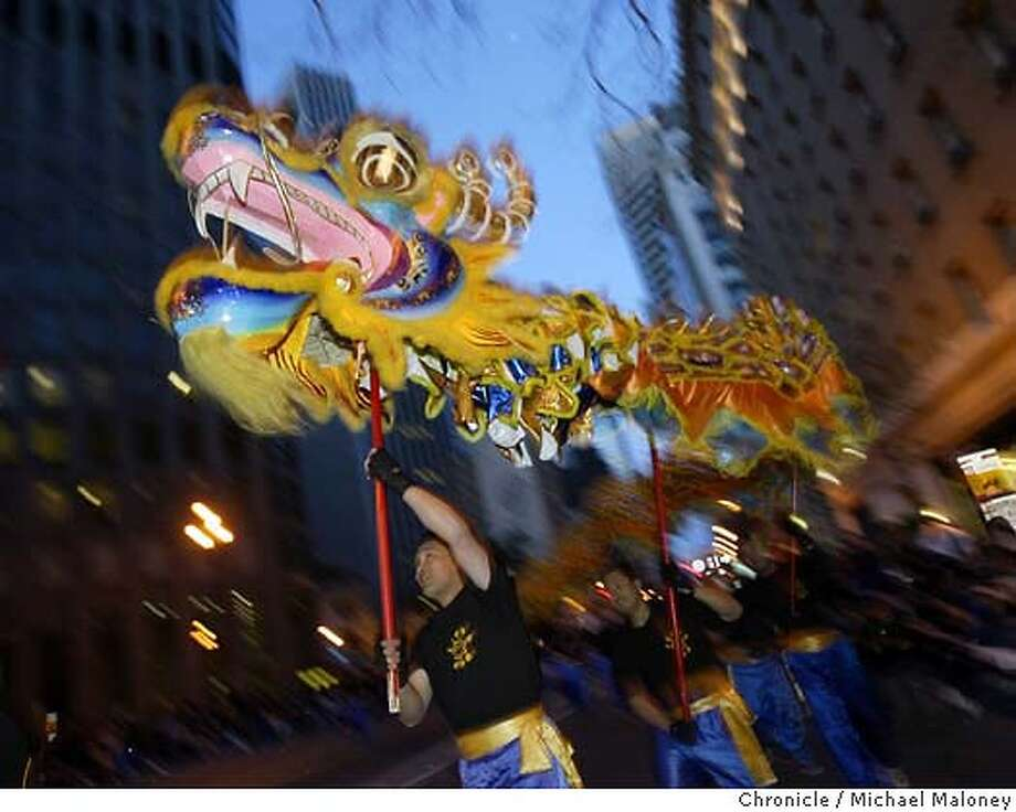 This dragon was sponsored by the SFPD.  The Chinese New Year's Parade, this year the Year of the Monkey made it's way from Market and 2nd Streets up to Chinatown.  Michael Maloney / The Chronicle Photo: Michael Maloney