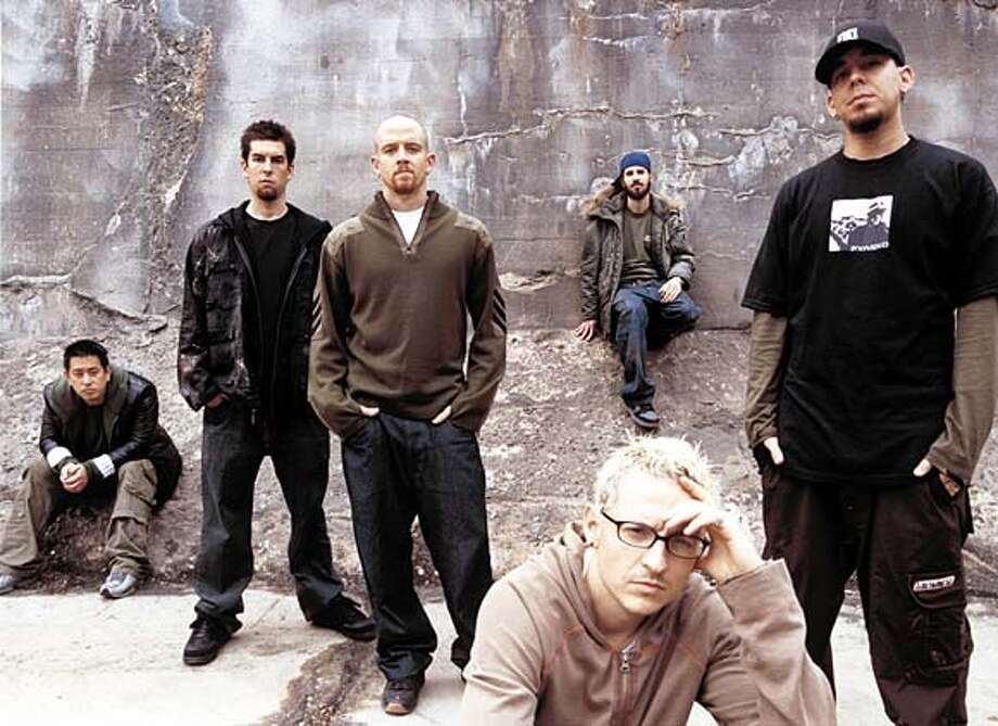 The band Linkin Park. Front man Mike Shinoda is on the far right. on 8/28/03 in San Francisco. / HO