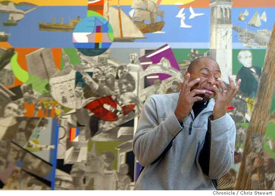 """marsalis07060_cs.jpg Event on 2/3/04 in San Francisco.  Saxophonist Branford Marsalis gets expressive as he talks about the work of painter Romare Bearden, whose last record was inspired by Bearden. Marsalis stands in front of """"Berkeley - The City and Its People,"""" created by the artist in 1973. It is a collage of various papers with paint, ink and graphite on seven panels and is on display in a large SFMOMA show of the artist's work. Chris Stewart / The Chronicle � MANDATORY CREDIT FOR PHOTOG AND SF CHRONICLE/ -MAGS OUT Photo: Chris Stewart"""