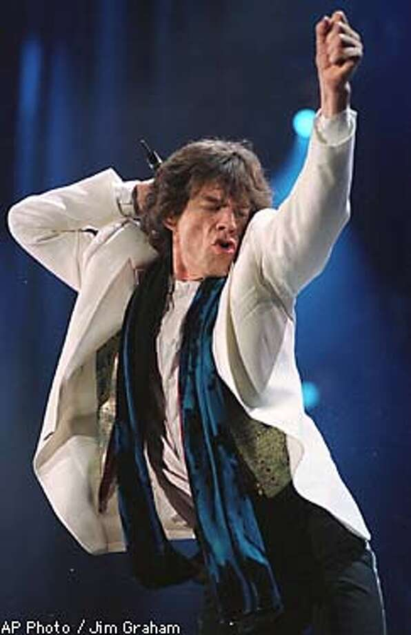 Mick Jagger performs with the at Veterans Stadium in Philadelphia, Pa., Sunday, Oct. 12, 1997. (AP Photo/Jim Graham) Photo: JIM GRAHAM